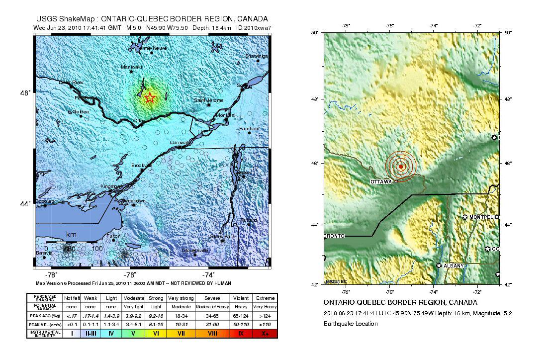 Shake map and location map for Ontario-Quebec earthquake