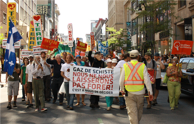 Shale gas protest march in Montreal
