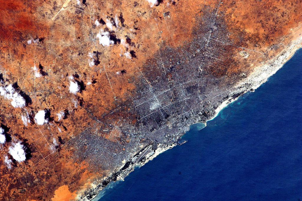 Mogadishu, Somalia seen from the International Space Station.